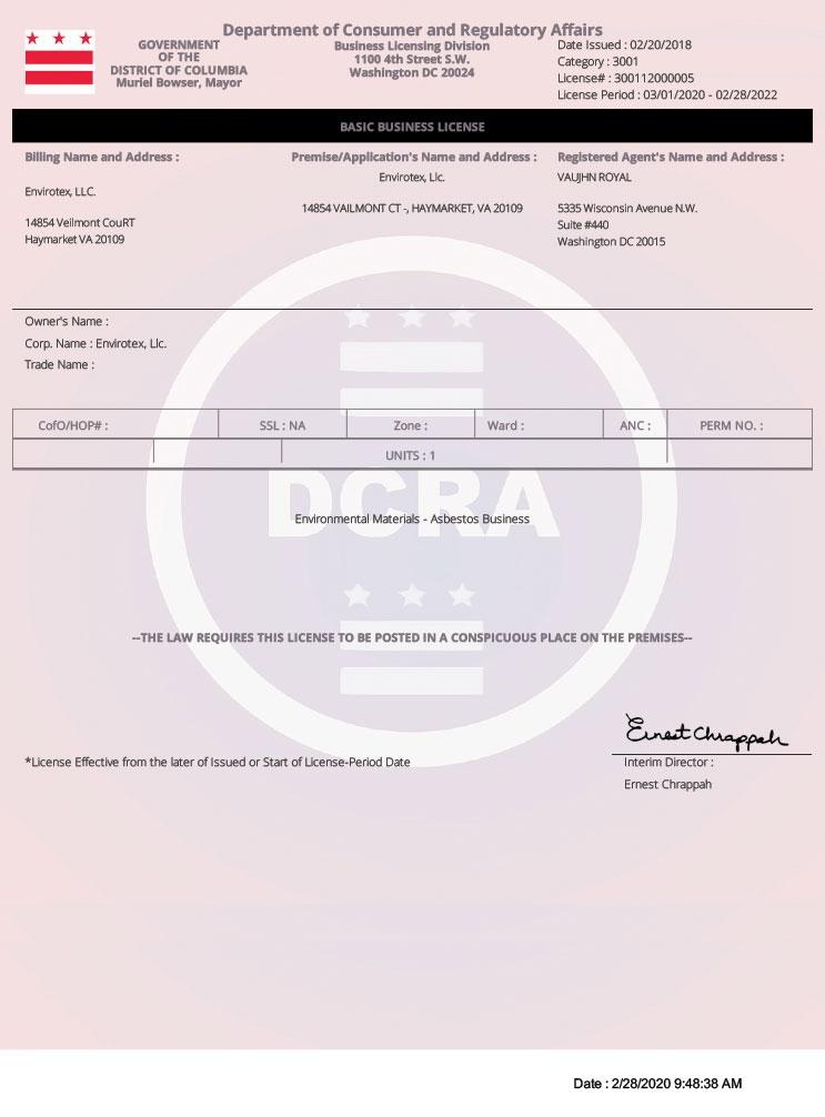 Licenses Envirotex Northern Virginia Mold And Asbestos